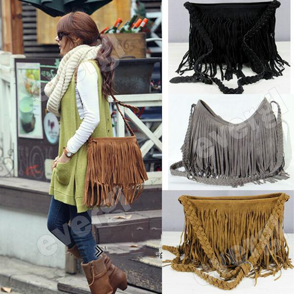 Claudia. Hippie Fringe Vegan Leather Shoulder Bag - The Young Hippie