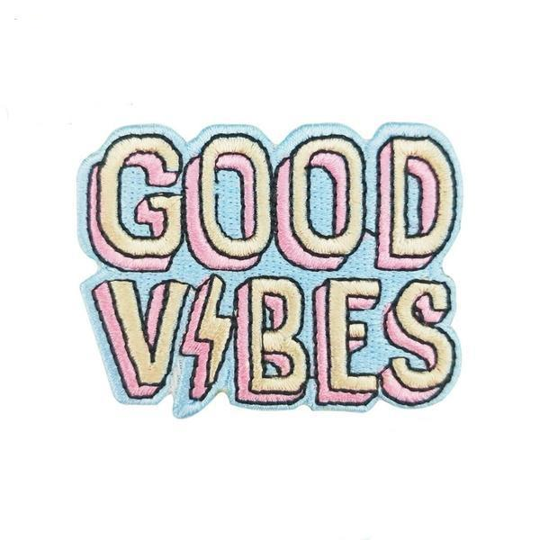 Good Vibes Embroidery Iron On Patch - The Young Hippie