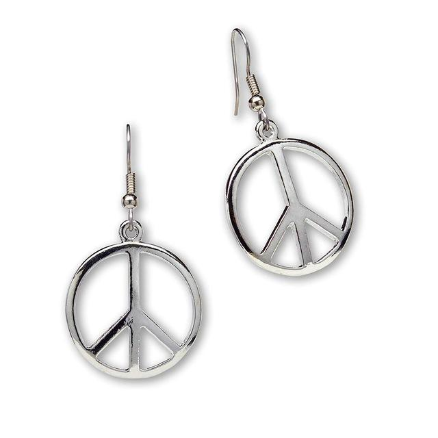Hippie Peace Sign Dangle Earrings - The Young Hippie