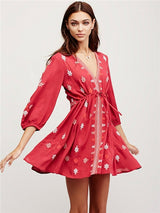 Jami. V-Neck Adjustable Waist 3/4 Sleeve Boho Dress | Color Select - The Young Hippie