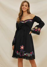 Molly. Boho Inspired Embroidered Floral Dress | Color Select