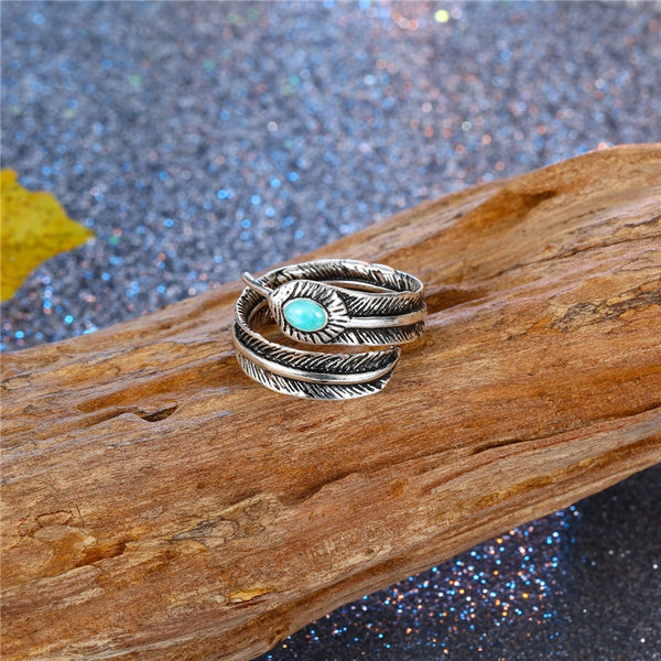 Turquoise Detailed Feather Wrap Ring | Unisex