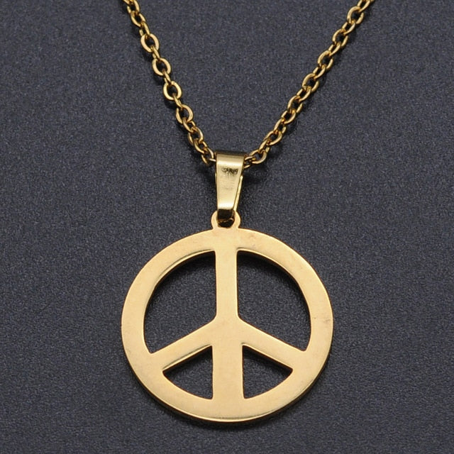 Peace Hippie Gold Tone Pendant