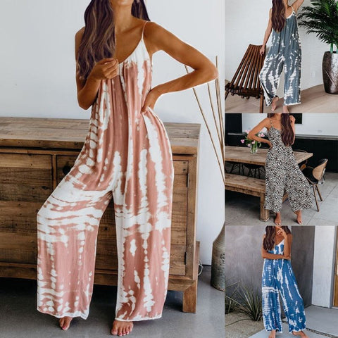 Adrienne: Tie Dye Peek-a-boo Boho Backless Jumpsuit