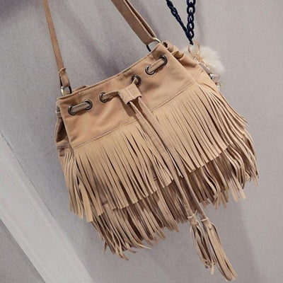 Reagan. Retro Faux Suede Fringe Messenger Bag | Color Select - The Young Hippie