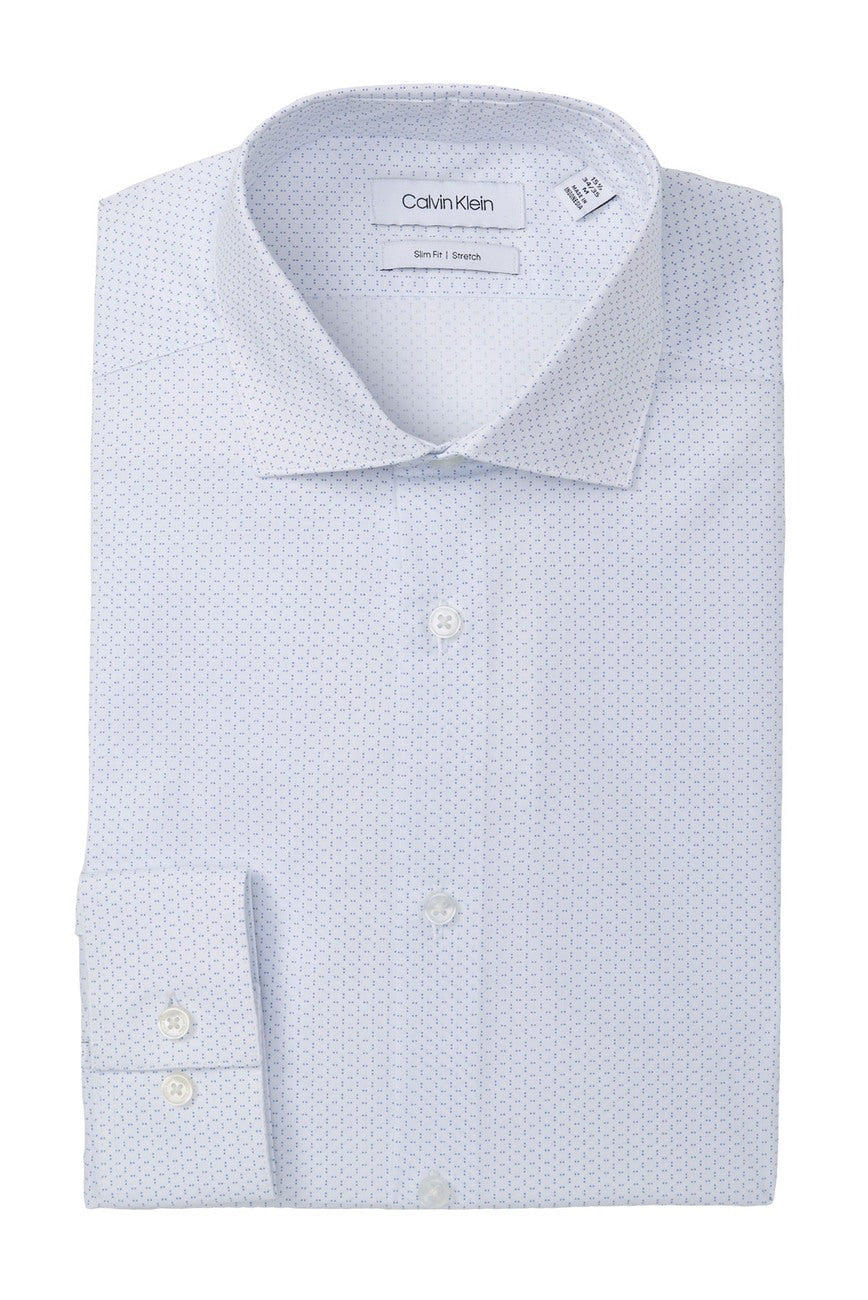 CK-Slim fit stretch dress shirt- Lapis