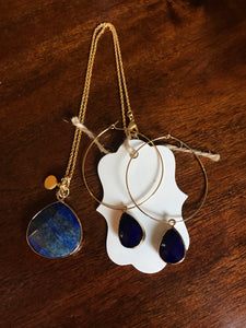 Lapis Lazuli Pendant with Earrings