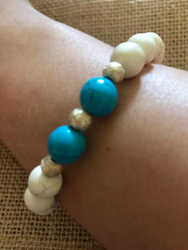 White Howlite with Teal
