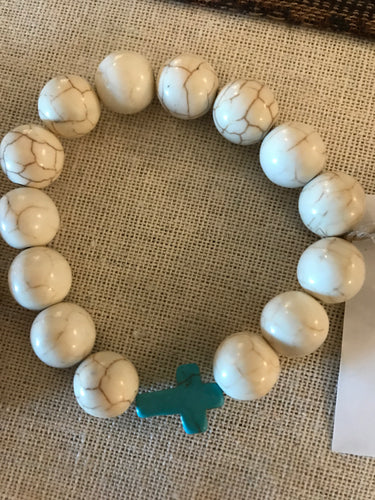 Howlite with teal cross - Mommy & Me Set