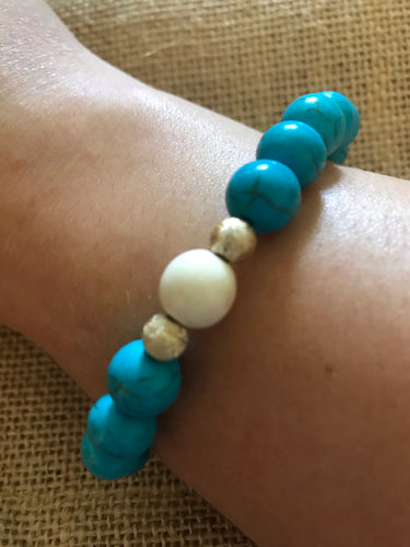 Teal Howlite with White