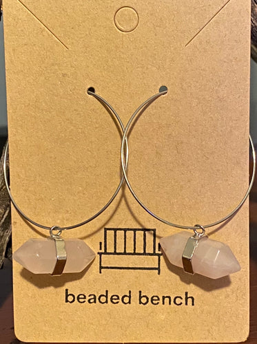 Silver Rose Quartz Hoops