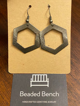 Gunmetal Hexagon Earrings
