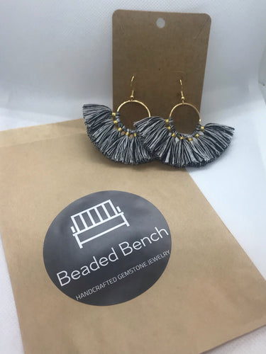 Large Fan Tassel Hoop Earrings - B&W