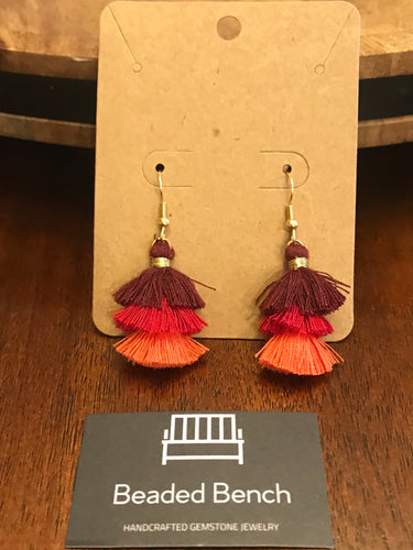 Three Tier Tassel Earrings - Pink & Red