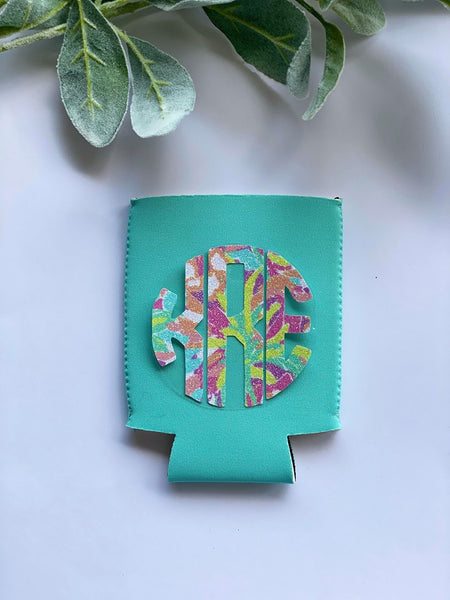 Monogram Light Turquoise Koozie