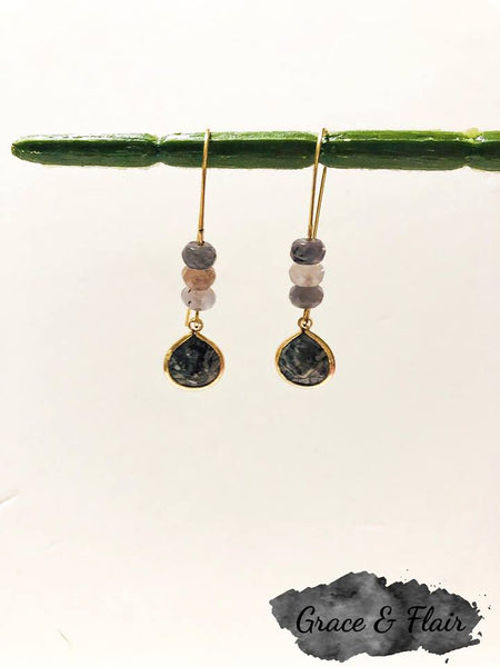 Mixed Black Marble Bead and Gemstone Drop Earrings
