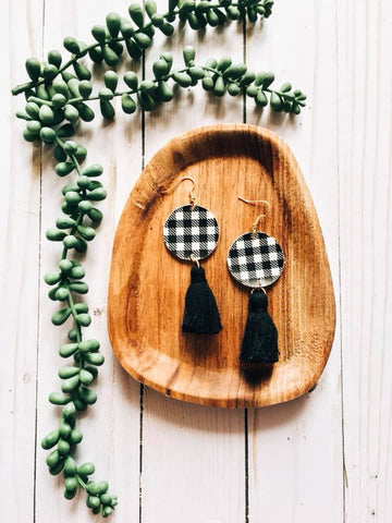 Gingham Tassel Earrings