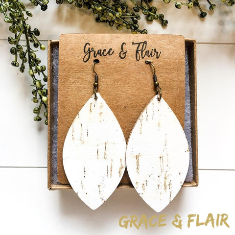 Large Birch Cork Petal Earrings