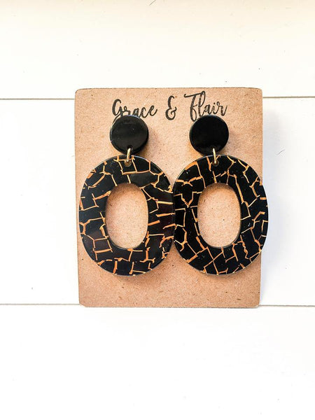 Black and Gold Lava Acrylic Hoops
