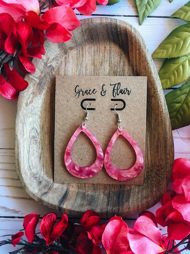 Lipstick Luster Acrylic Teardrop Earrings