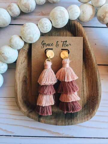 Four Tier Valentine Tassel Earrings