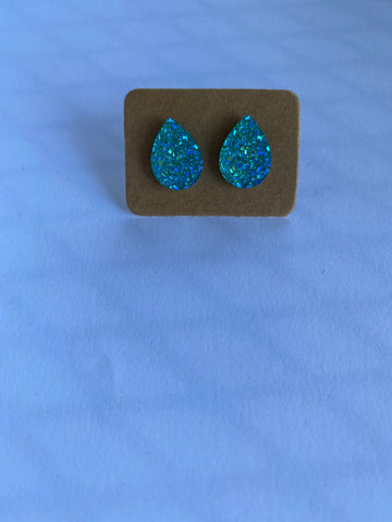 Bright Blue Druzy Teardrop Earrings