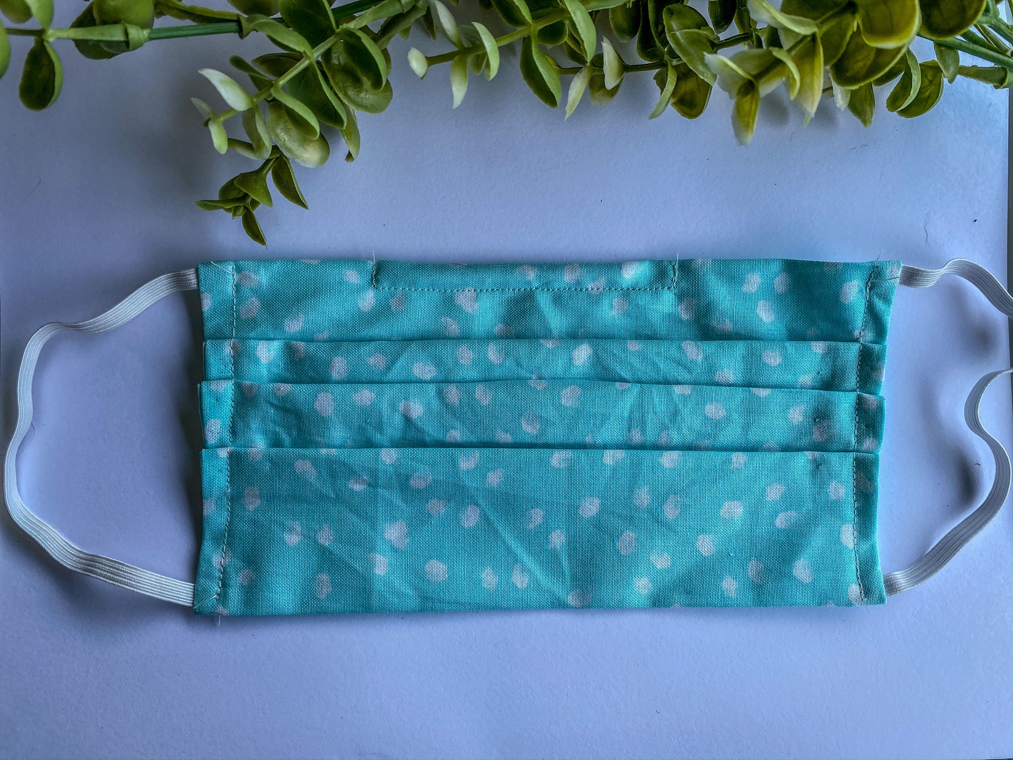 Adult Sky Blue with White Polka Dots Mask