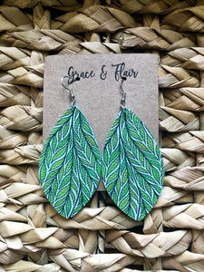 Large Tropical Leaf Teardrop Earrings