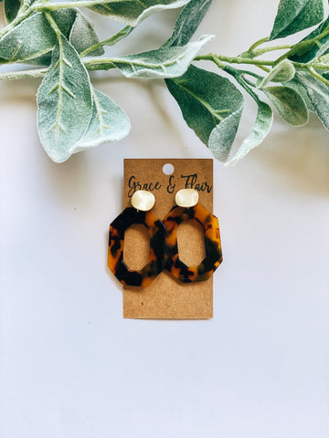 Cheetah-toned Tortoise Acrylic Earrings