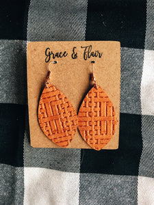 Medium Tan Basketweave Petal Earrings