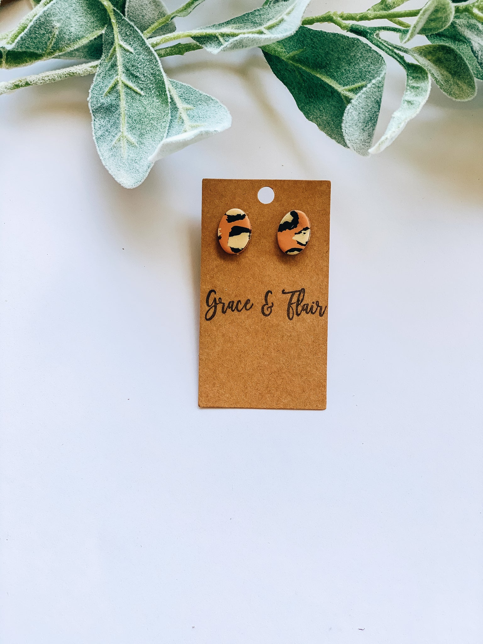 Cheetah Clay Stud Earrings