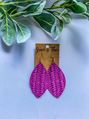 Large Bright Purple Petal Earrings
