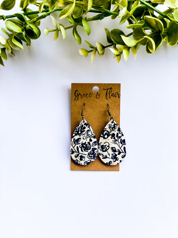 Small Black Floral Cork  Teardrop Earrings