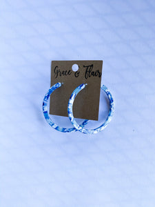 Large Blue Marble Acrylic Hoops