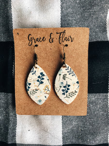 Small Winter Floral Cork Petal Earrings