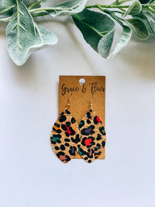 Medium Rainbow Cheetah Cork Petal Earrings