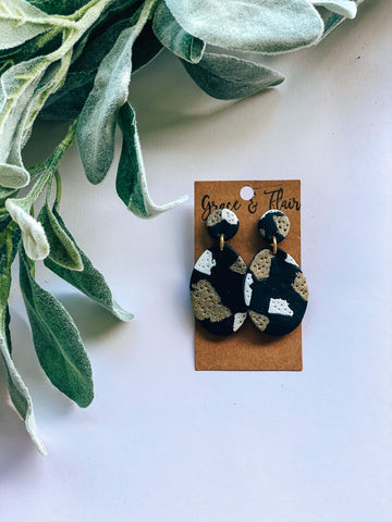 Black and Gold Granite Clay Earrings