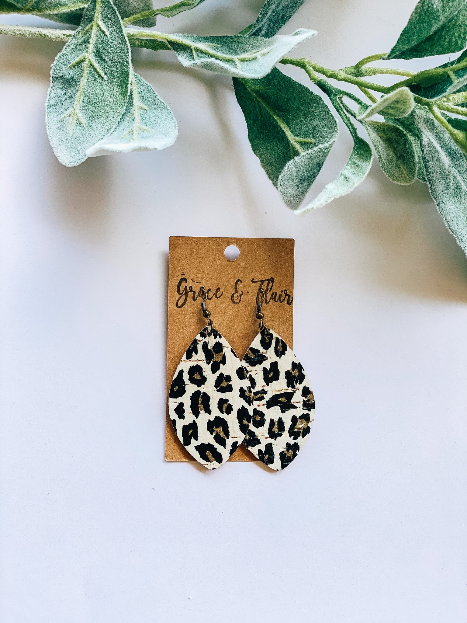 Medium Bright Cheetah Cork Petal Earrings