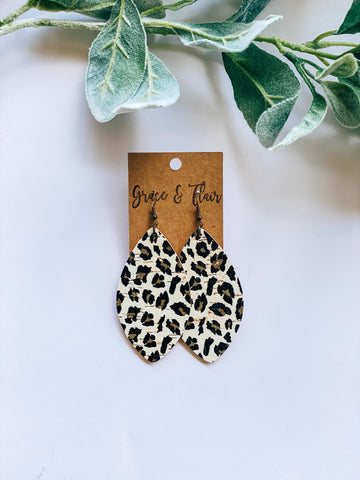 Large Bright Cheetah Cork Petal Earrings
