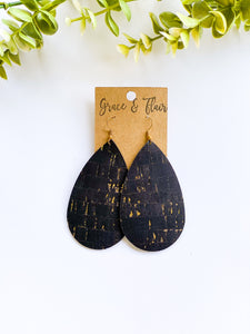 Large Black and Gold Cork Teardrop Earrings
