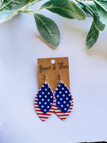 Large Layered Patriotic Earrings