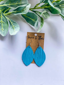Medium Bright Turquoise Palm Petal Earrings