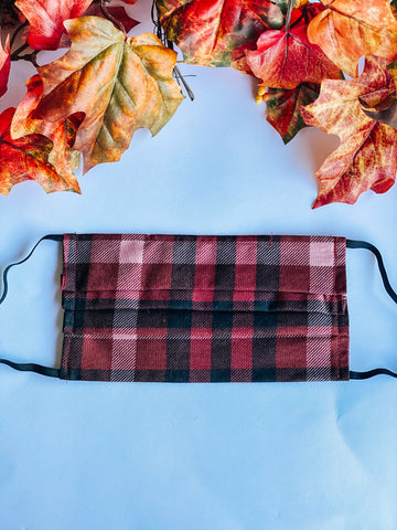 Red Plaid Adult Mask
