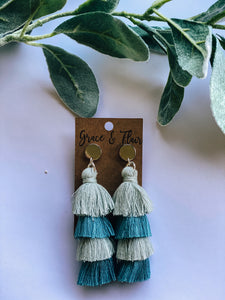 Four Tier Shades of Blue Tassel Earrings