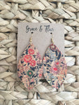Large Cork Floral Petal Earrings