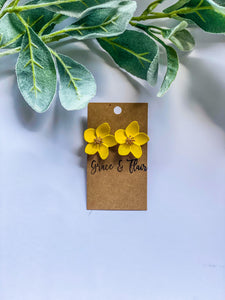 Bright Yellow Floral Stud Earrings
