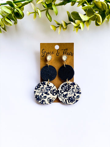 Black Floral Cork Statement Earrings