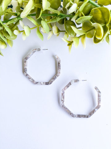 Large Marble Grey Hexagonal Hoops