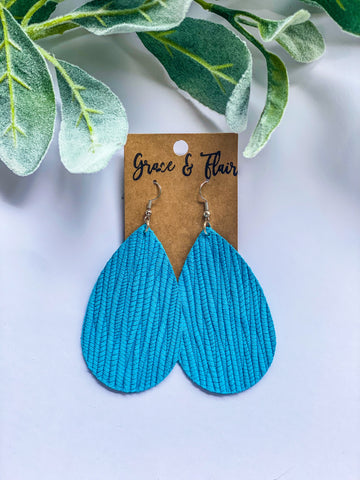 Large Bright Turquoise Palm Teardrop Earrings