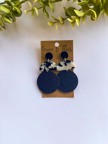 Black and White Geo Disc Earrings